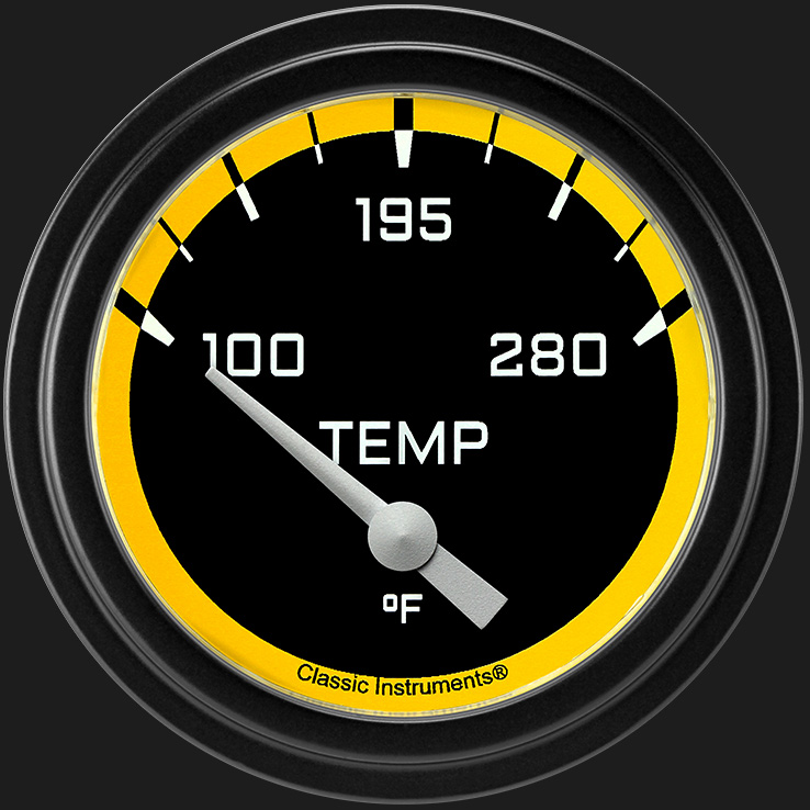 "Picture of Autocross Yellow 2 5/8"" Water Temperature Gauge"