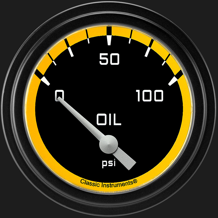 "Picture of Autocross Yellow 2 5/8"" Oil Pressure Gauge"