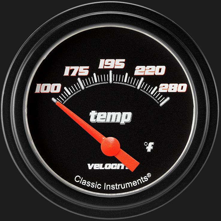 "Picture of Velocity Black 2 5/8"" Water Temperature Gauge"