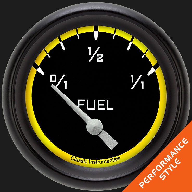 "Picture of Autocross Yellow 2 5/8"" Fuel Gauge, 75-10 ohm"