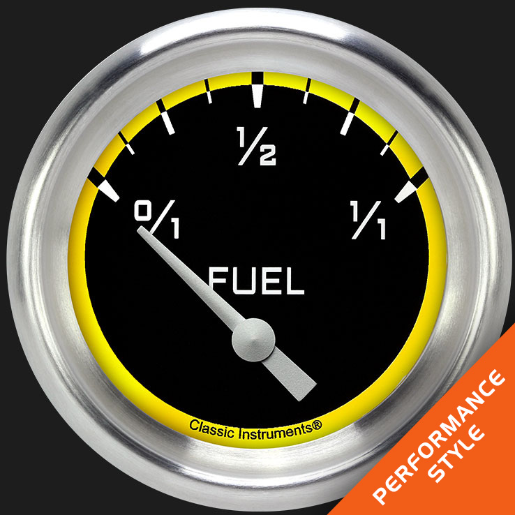 "Picture of Autocross Yellow 2 5/8"" Fuel Gauge, 0-90 ohm"