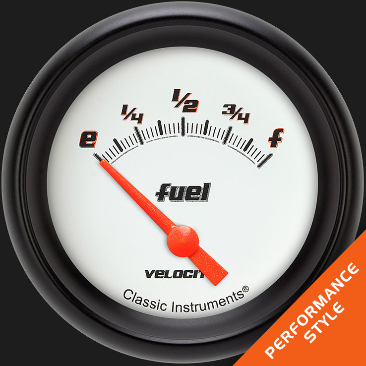 "Picture of Velocity White 2 5/8"" Fuel Gauge, 0-90 ohm"