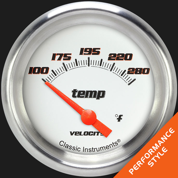 "Picture of Velocity White 2 5/8"" Water Temperature Gauge"