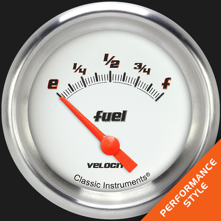 "Picture of Velocity White 2 5/8"" Fuel Gauge, 75-10 ohm"