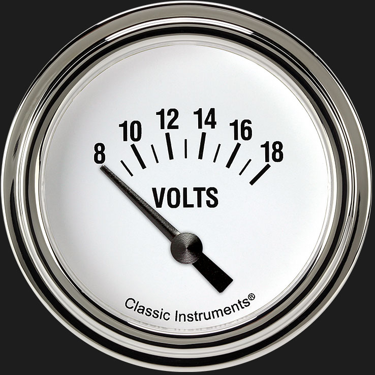 "Picture of White Hot 2 5/8"" Volt Gauge"