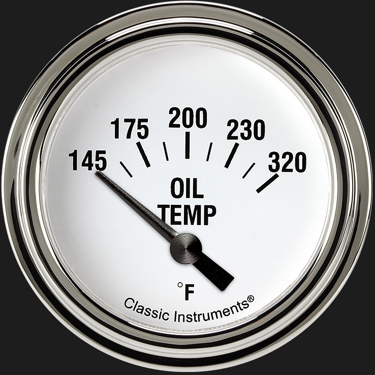 "Picture of White Hot 2 5/8"" Oil Temperature Gauge"