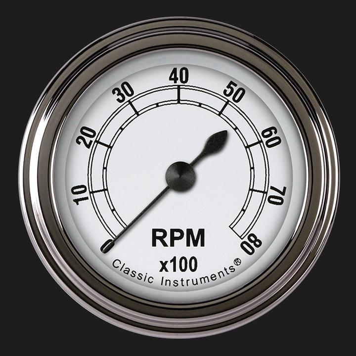"Picture of Classic White 2 1/8"" Tachometer"