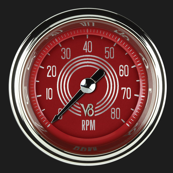 """Picture of V8 Red Steelie 2 1/8"""" Tachometer"""