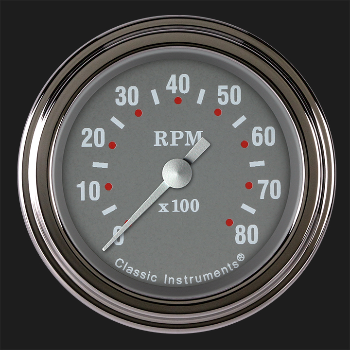 """Picture of Silver Gray 2 1/8"""" Tachometer"""