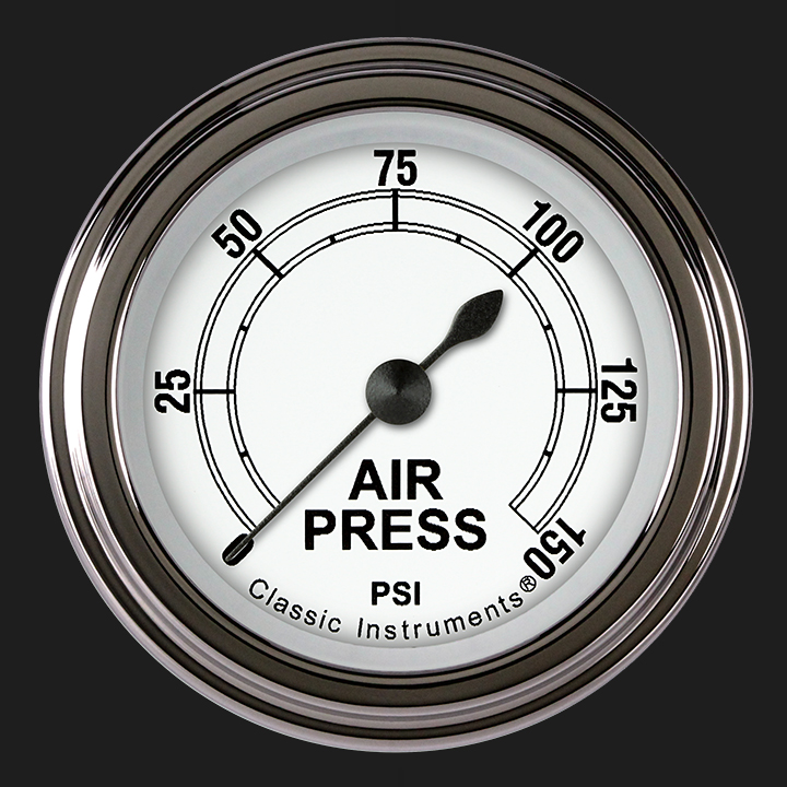 """Picture of Classic White 2 1/8"""" Air Pressure Gauge"""