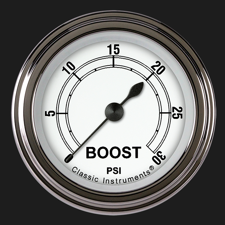 """Picture of Classic White 2 1/8"""" Boost Gauge, 30 psi"""