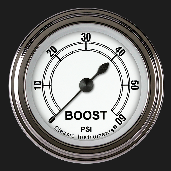 """Picture of Classic White 2 1/8"""" Boost Gauge, 60 psi"""