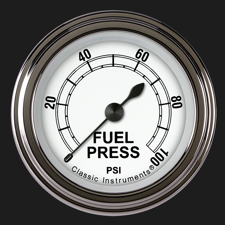 "Picture of Classic White 2 1/8"" Fuel Pressure Gauge, 100 psi"