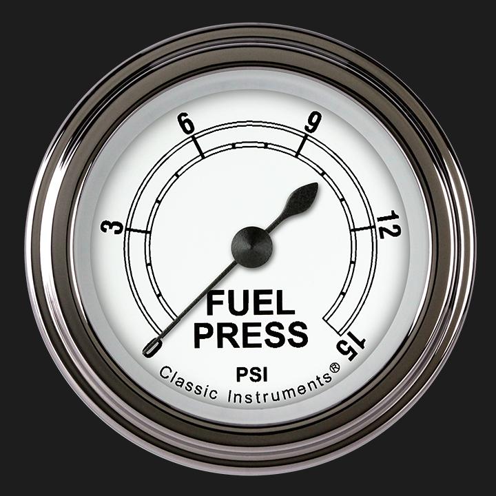 "Picture of Classic White 2 1/8"" Fuel Pressure Gauge, 15 psi"