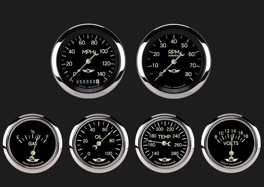 """Picture of Classic Series Six Gauge Set, 3 3/8"""""""
