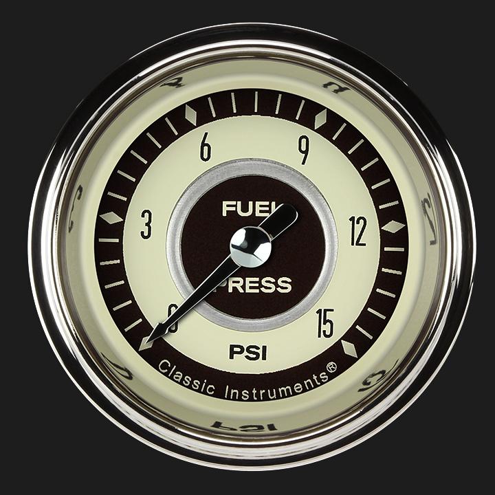 """Picture of Nostalgia VT 2 1/8"""" Fuel Pressure Gauge, 15 psi"""