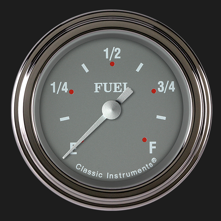 """Picture of Silver Gray 2 1/8"""" Fuel Gauge"""