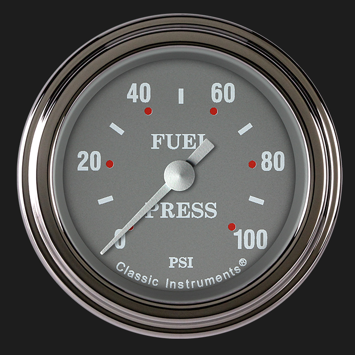 """Picture of Silver Gray 2 1/8"""" Fuel Pressure Gauge, 100 psi"""