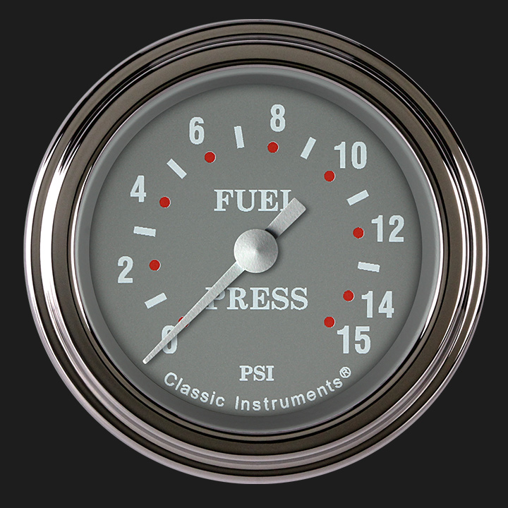 """Picture of Silver Gray 2 1/8"""" Fuel Pressure Gauge, 15 psi"""