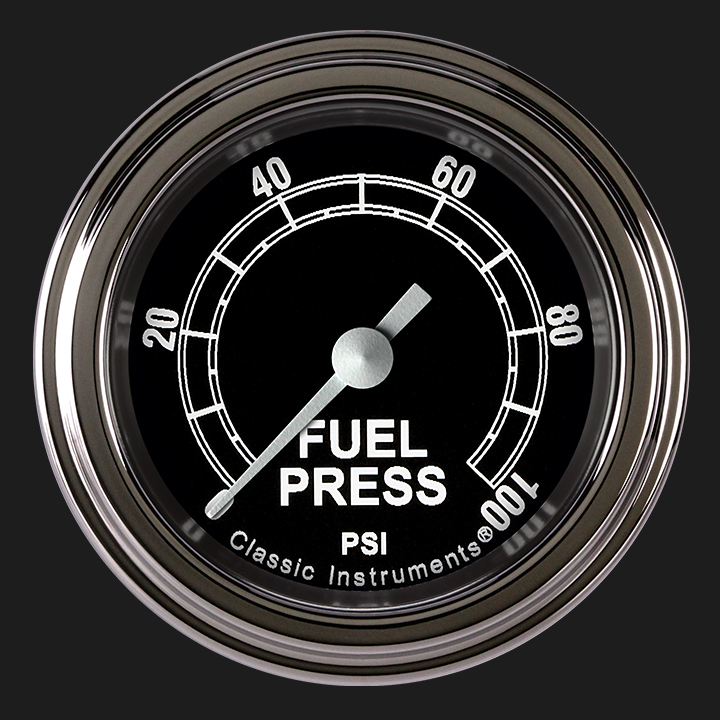 """Picture of Traditional 2 1/8"""" Fuel Pressure Gauge, 100 psi"""