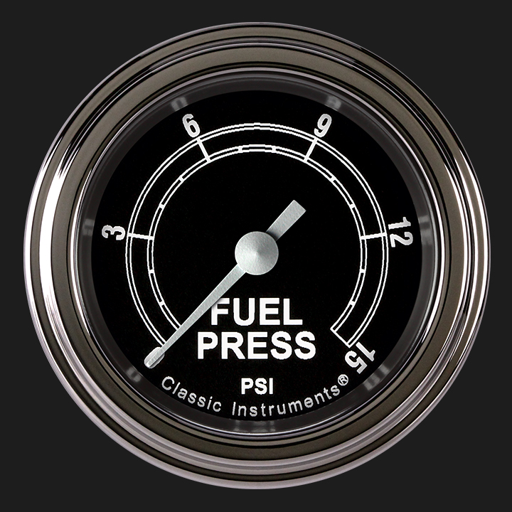 """Picture of Traditional 2 1/8"""" Fuel Pressure Gauge, 15 psi"""