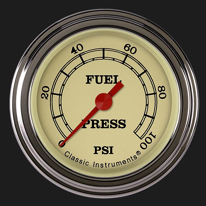 "Picture of Vintage 2 1/8"" Fuel Pressure Gauge, 100 psi"