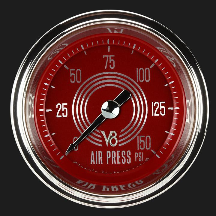 """Picture of V8 Red Steelie 2 1/8"""" Air Pressure Gauge"""