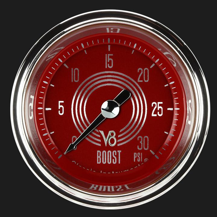 "Picture of V8 Red Steelie 2 1/8"" Boost Gauge, 30 psi"
