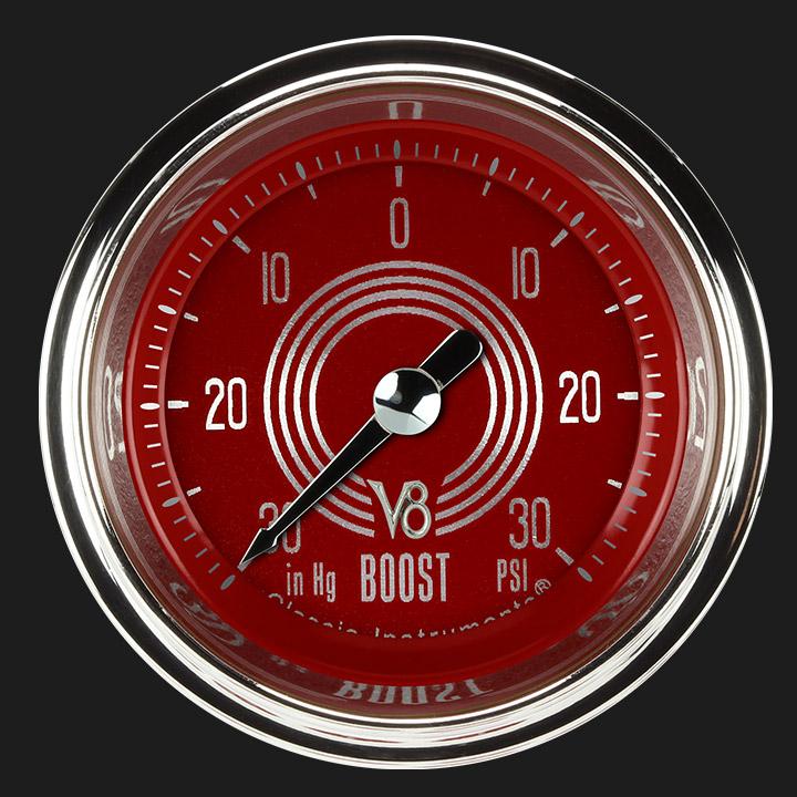 "Picture of V8 Red Steelie 2 1/8"" Boost/Vac Gauge"