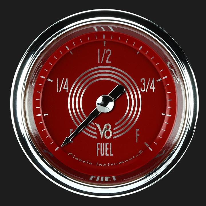 """Picture of V8 Red Steelie 2 1/8"""" Fuel Gauge"""