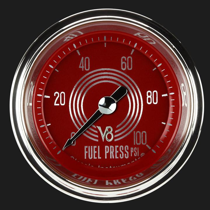 """Picture of V8 Red Steelie 2 1/8"""" Fuel Pressure Gauge, 100 psi"""