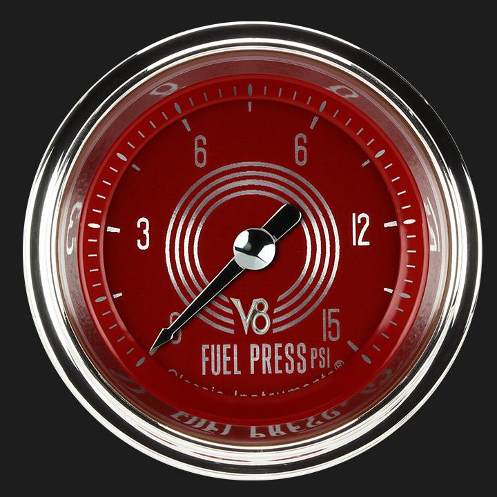 """Picture of V8 Red Steelie 2 1/8"""" Fuel Pressure Gauge, 15 psi"""