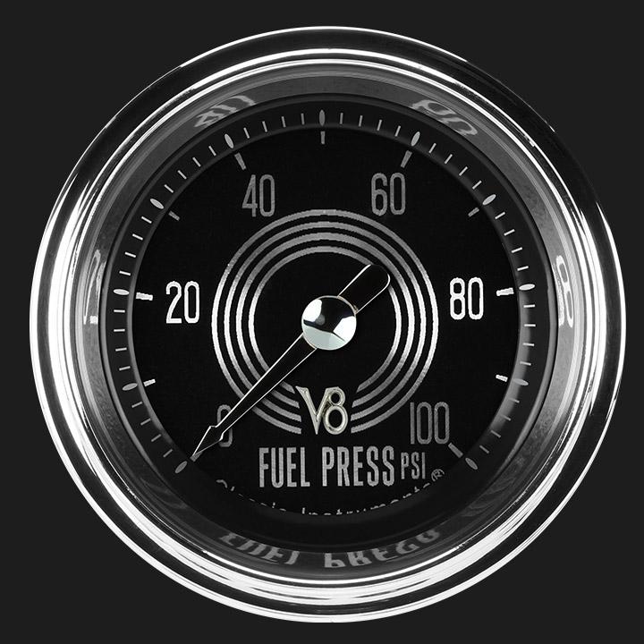 """Picture of V8 Speedster 2 1/8"""" Fuel Pressure Gauge, 100 psi"""