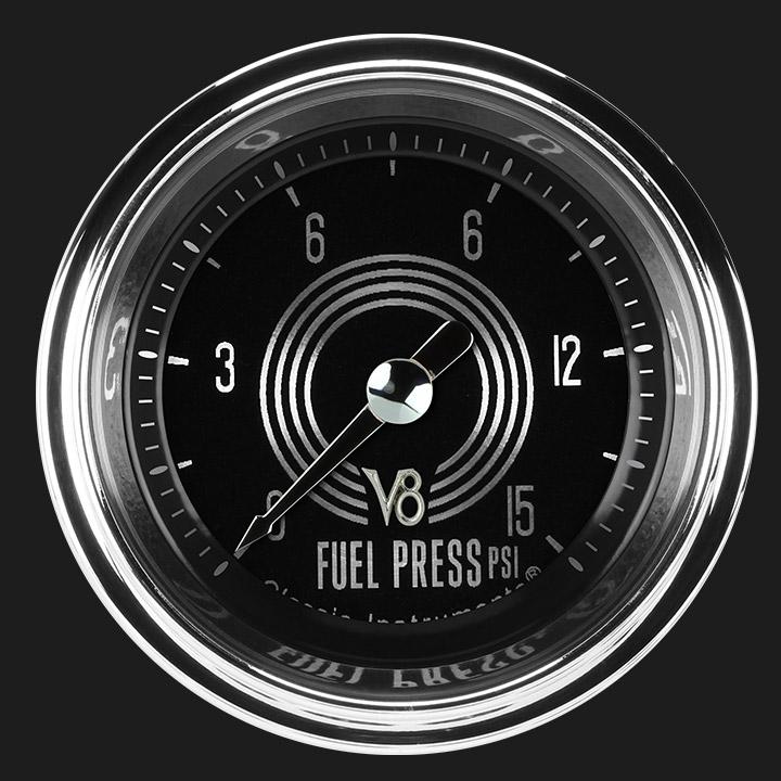 """Picture of V8 Speedster 2 1/8"""" Fuel Pressure Gauge, 15 psi"""