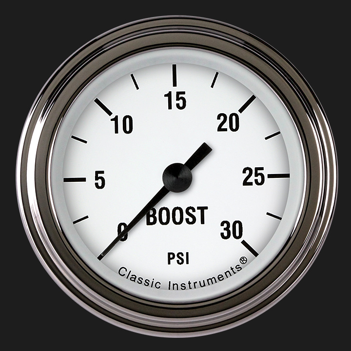 "Picture of White Hot 2 1/8"" Boost Gauge, 30 psi"