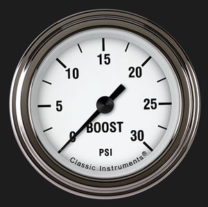 """Picture of White Hot 2 1/8"""" Boost Gauge, 30 psi"""