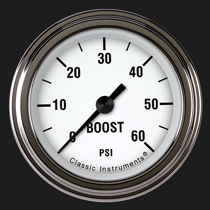 "Picture of White Hot 2 1/8"" Boost Gauge, 60 psi"