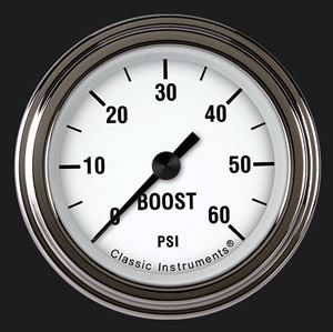 """Picture of White Hot 2 1/8"""" Boost Gauge, 60 psi"""