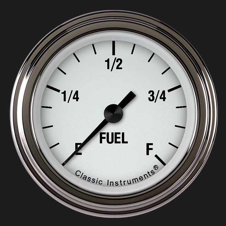 """Picture of White Hot 2 1/8"""" Fuel Gauge"""