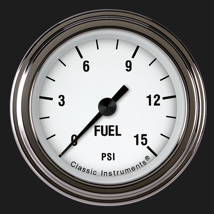 """Picture of White Hot 2 1/8"""" Fuel Pressure Gauge, 15 psi"""