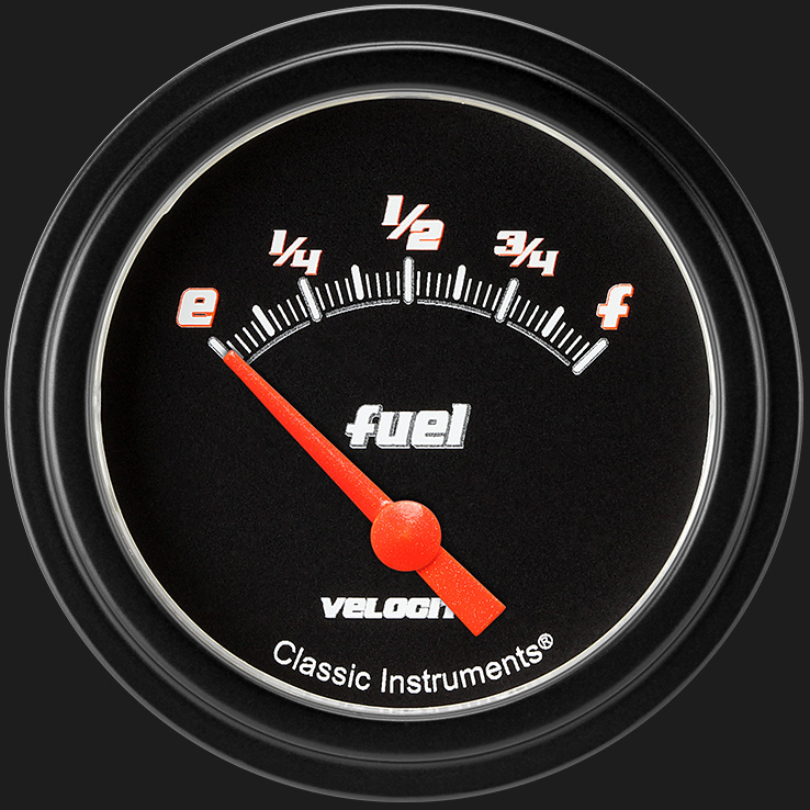 "Picture of Velocity Black 2 5/8"" Fuel Gauge, 75-10 ohm"