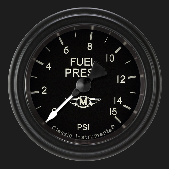 """Picture of Moal Bomber 2 1/8"""" Fuel Pressure Gauge, 15 psi"""