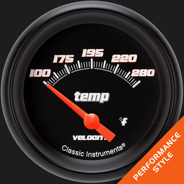 "Picture of Velocity Black 2 5/8"" Water Temperature Gauge"