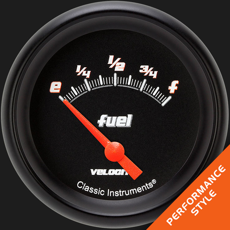 "Picture of Velocity Black 2 5/8"" Fuel Gauge, 240-33 ohm"