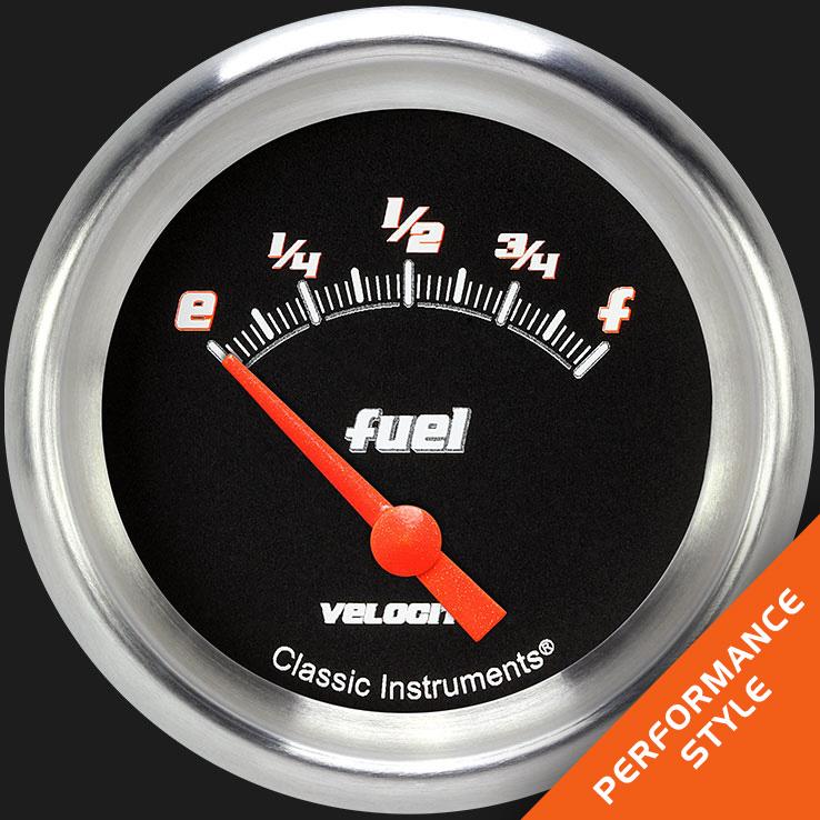 "Picture of Velocity Black 2 5/8"" Fuel Gauge, 0-90 ohm"