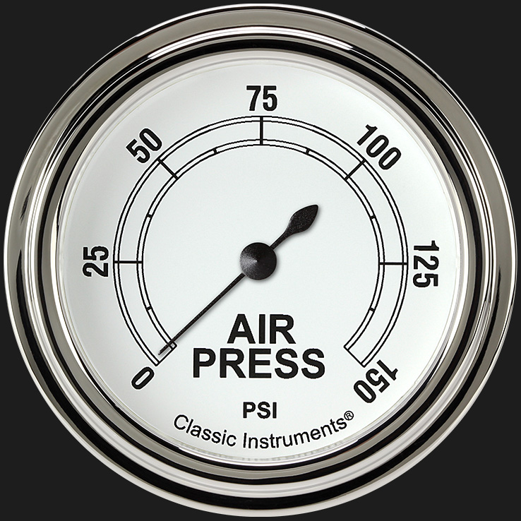 """Picture of Classic White 2 5/8"""" Air Pressure Gauge"""