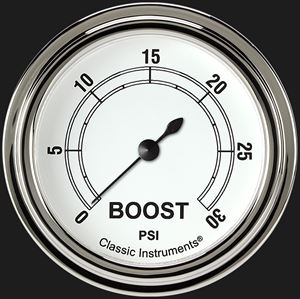 """Picture of Classic White 2 5/8"""" Boost Gauge, 30 psi"""