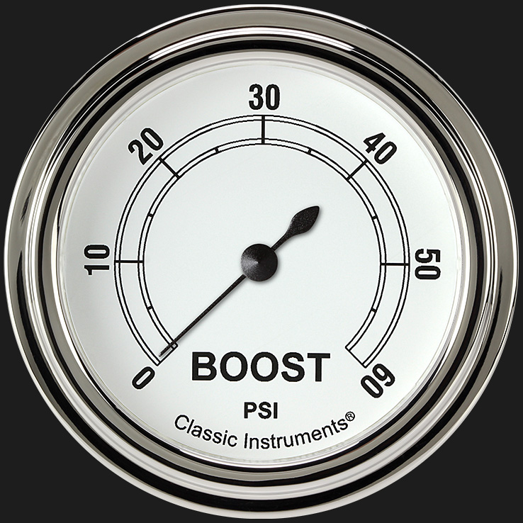 """Picture of Classic White 2 5/8"""" Boost Gauge, 60 psi"""