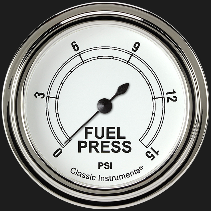 "Picture of Classic White 2 5/8"" Fuel Pressure Gauge, 15 psi"