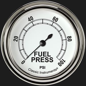 "Picture of Classic White 2 5/8"" Fuel Pressure Gauge, 100 psi"